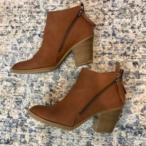 Dolce Vita Asymmetrical Zipper Brown Ankle Booties